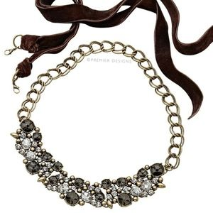 Crystals Velvet Brown Ribbon DECADENT Necklace NWT